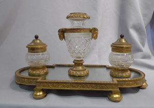 Antique French crystal and gilt bronze ecrier.