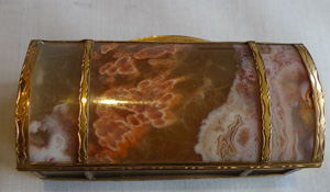Split agate casket with gilt bronze banding, dome topped lid, Austro Hungarian.