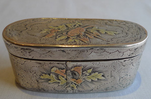 Antique French 18th century silver and gold inlaid box, late 18th century possibly revolutionary.