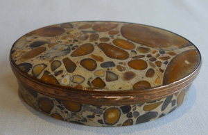 puddingstone 18th century oval hinged box.