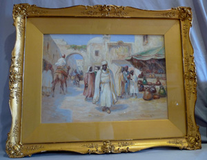 Orientalist watercolour of Arab market scene in fine gilt frame signed Keith.