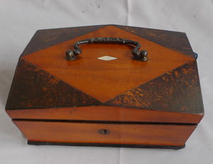 English late Regency wooden work box with accessories.