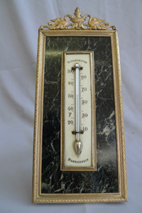 Antique French ormolu thermometer with ivory scale Napoleon III.