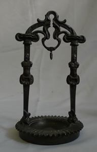 Antique Berlin work cast iron double watch stand, early 19th century.