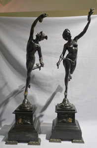 Pair antique statues in bronze of mercury and flora after Gianbolognia