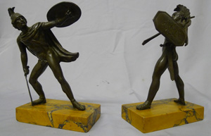 Antique Grand Tour pair of bronze Gladiators on Sienna marble bases.