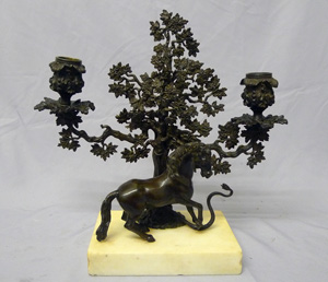 Antique English Regency candelabra of Stallion rearing at a snale on white marble base.