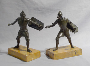 Grand Tour bronzes of warriors on Sienna marble bases.