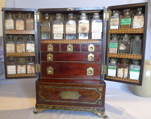 Antique English Regency campaign apothacary or medicine cabinet.