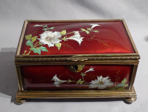 Antique enamel box in bronze carcase, French.