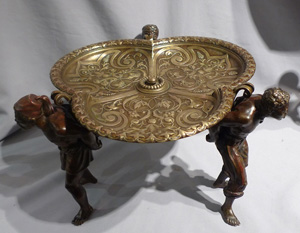 Antique Bergman tazza or centrepiece held by three figures
