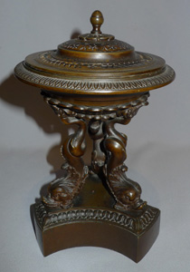 Antique English Regency patinated bronze pastille burner with hand pierced lid.