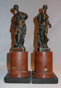 Pair Italian classical female bronzes on marble bases.