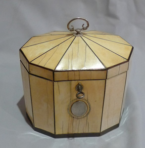Antique English George III 18th century decagonal tented ivory tea caddy with tortoiseshell stringin