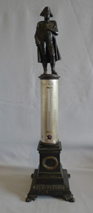 Antique French bronze of Napoleon standing on a column incorporating a thermometer.