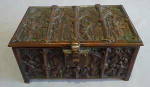 Antique English Gothic revival patinated bronze jewellry box in form of a Gothic coffer.