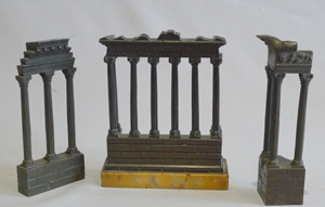 Grand tour Italian ruined temples of Rome in patinated bronze and Sienna marble