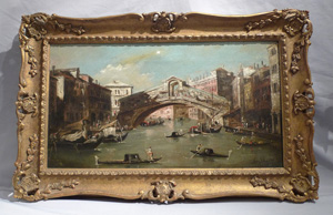 Antique framed oil painting of Venice signed Stefano Vertunni, mid 19th century.