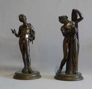 Antique pair of Italian Grand Tour bronzes of Narcissus and the Venus Calipigia.