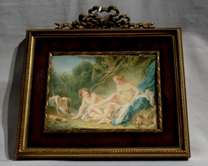 French watercolour on ivory od Diana the Huntress by M. Gonnier in ormolu frame.