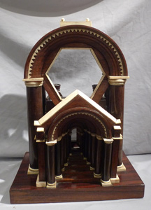 Architectural model in rosewood, ebony and ivory.