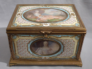 Antique French enamel & ormolu casket with 5 signed watercolour on ivory of French Royal Family