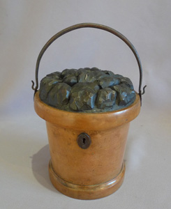 Antique and rare tea caddy in the shape of a coal bucket