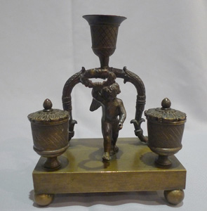 Antique English Regency cherub inkwell with candleholder
