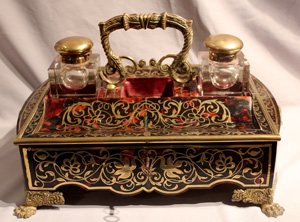 Antique English George IV Boulle desk set or ecrier.