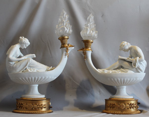Pair of gilt bronze mounted bisque figures after Boizot.