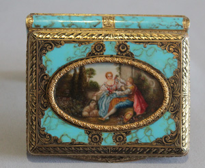 Italian silver gilt and enamel card case with fine watercolour