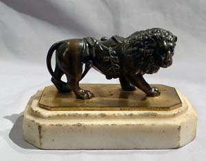 Antique English Regency Weeks Lion on Carrera marble and signed.
