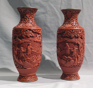 Pair celadon chinese vases.