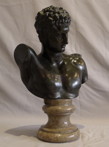 Antique bronze and marble bust of Hermes after the antique on fine marble socle..