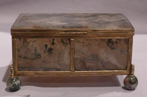 Antique Austro Hungarian fine gilt bronze mounted split moss agate casket.
