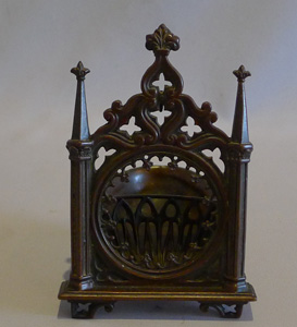 Antique early 19th century Gothic watch holder in patinated bronze.