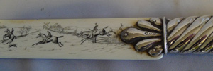 Antique English Edwardian silver and ivory page turner with painted hunting scenes.