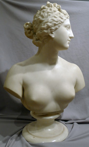Italian antique marble bust of Venus on rotating marble socle.