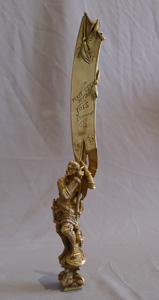 Gilt bronze seal and letter opener.