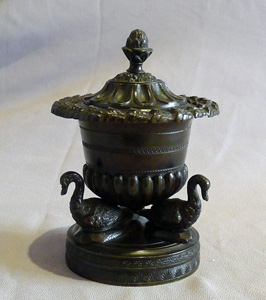 Antique English Regency pastille burner in patinated bronze.