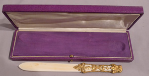 Antique ivory and gilt bronze letter opener in original case