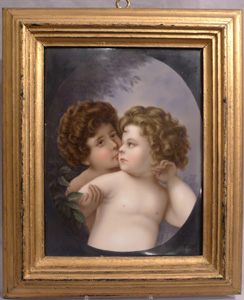 Antique Continental Porcelain plaque of two little children.