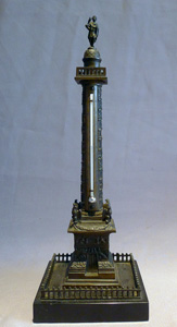 Antique French model in patinated bronze and marble of the Vendome column