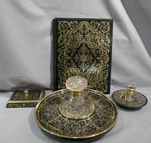 Antique French Boulle 4 piece desk set.