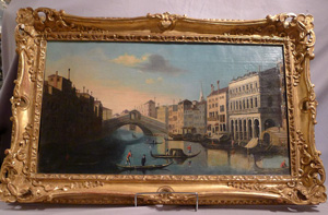 Antique Italian oil painting of a Venetian canal scene.