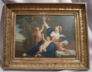 Fine Italian classical painting in gilt frame.