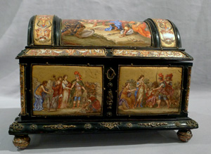Antique Viennese hand painted enamel jewelry casket.