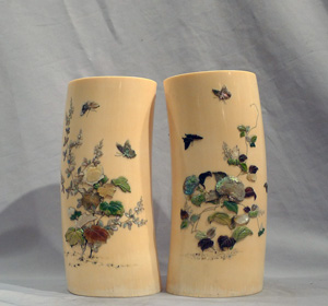 Antique pair of Ivory shibiyama vases.