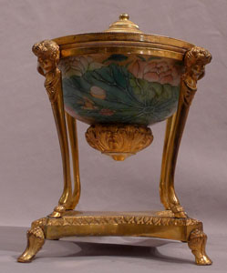 Antique French enamel and ormolu inkell.