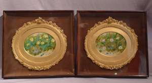 Antique pair of ivory miniature paintings, signed by William Cruikshank.